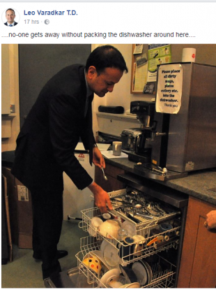Leo Varadkar posted this snap of him carrying out his chores at work.