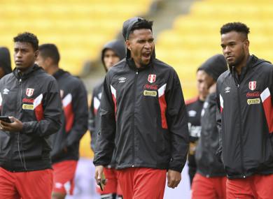 Peru players warm up.