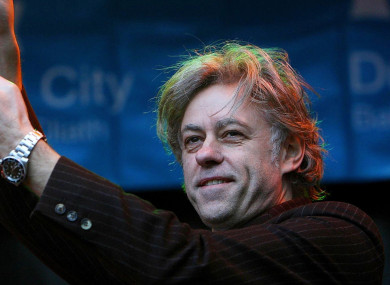 Geldof accepting the freedom of Dublin city in 2006.