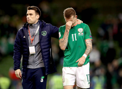 Ireland's Seamus Coleman and James McClean dejected after the match.