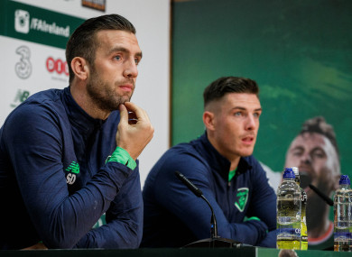 Shane Duffy and Ciaran Clark pictured at Monday's press conference.
