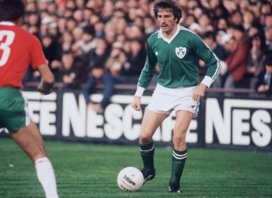 Ireland and Liverpool star Steve Heighway pictured on the ball.