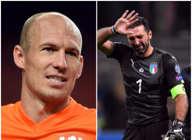 Arjen Robben and Gianluigi Buffon are among a host of star players that won't be at the World Cup.