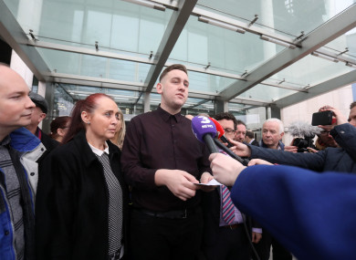 Jason Lester with his mother Sandra talking to the media while leaving the Central Criminal Courts in Dublin.
