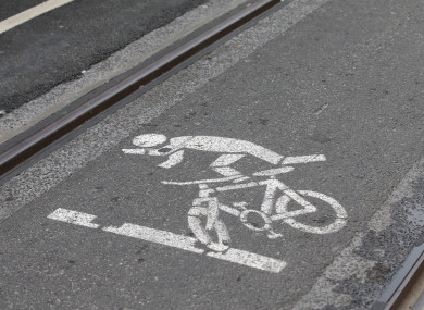 A warning to cyclists about the dangers of getting their tyres stuck in Luas tracks.
