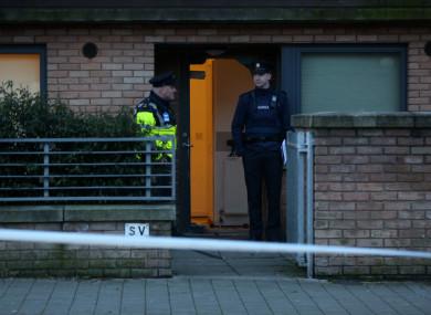 Gardaí at the scene of the shooting in Barnwell Drive, Ballymun.