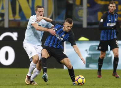Ivan Perisic challenged by Lazio's Adam Marusic.