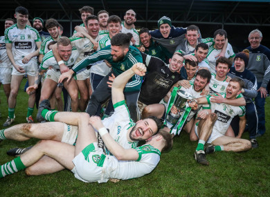 Moorefield players celebrate their victory.