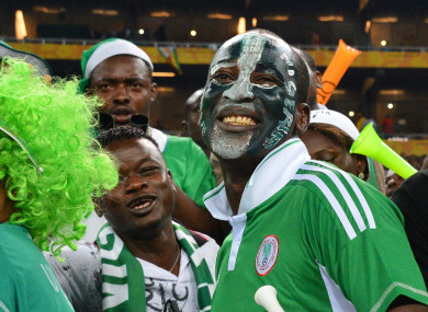 Nigeria's fans and supporters during the 2013 Orange Africa Cup of Nations Final soccer match, Nigeria v Burkina Faso, at Soccer City stadium in Johannesburg.