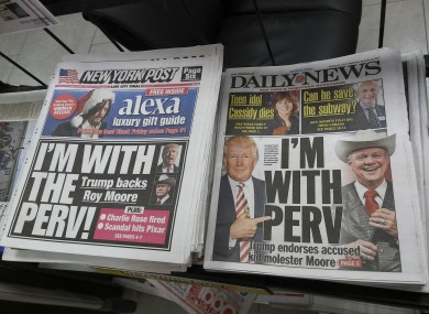 New York tabloid newspapers on use the same catchphrase in their reporting of President Donald Trump supporting Roy Moore in his bid for Alabama senator