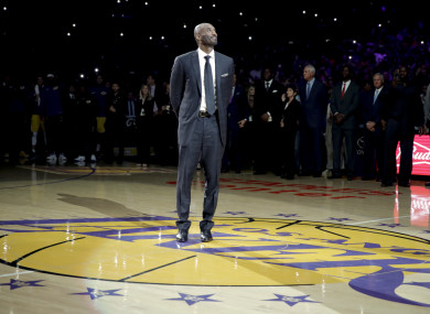 95b2e69f6a5 Kobe Bryant s jersey numbers were retired at a ceremony last night.