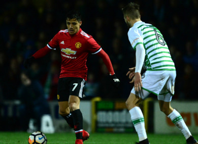 Alexis Sanchez in action for Manchester United against Yeovil Town