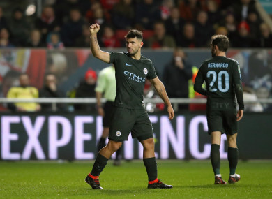 ca20e698568 Manchester City s Sergio Aguero celebrates scoring his side s second goal  of the game.