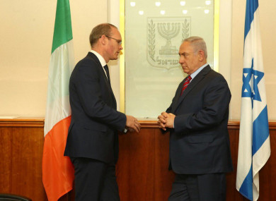 Simon Coveney and Benjamin Netanyahu during their last meeting in July.