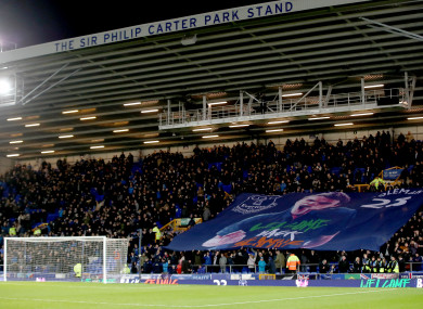 A giant Seamus Coleman banner in the stands during the Premier League match at Goodison Park.