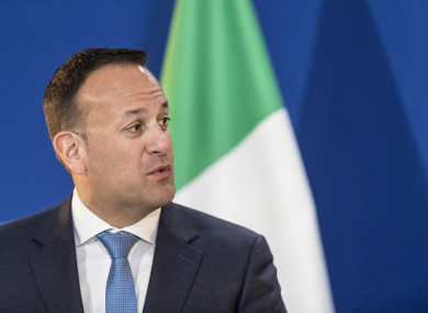Leo Varadkar speaks during a joint press conference at the European Parliament.