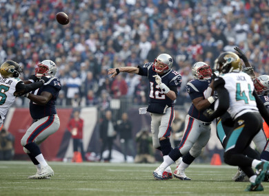 Tom Brady completes a pass against the Jaguars in the AFC Championship game.