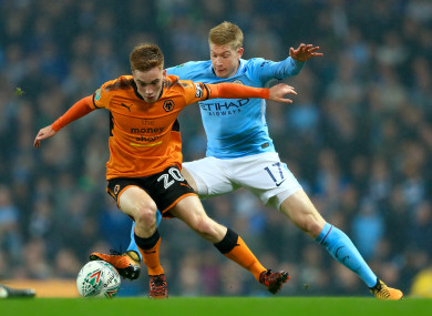 Ronan in action for Wolves against Man City earlier this season.