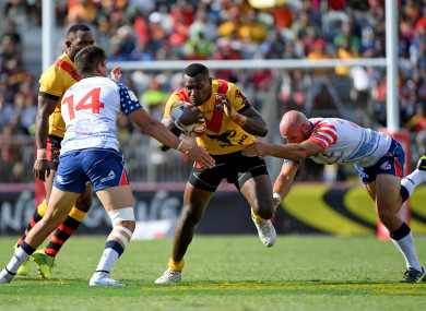Kato Ottio of Papua New Guinea pictured playing against the USA at the Rugby League World Cup last November.