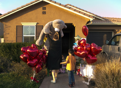 Neighbour Liza Tozier, and her son, Avery Sanchez, 6, drop off his large Teddy as a gift for the children.
