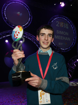 Simon Meehan, the overall winner of the BT Young Scientist and Technology Exhibition 2018