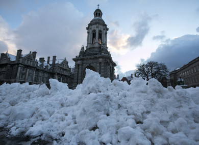Snow outside Trinity College.