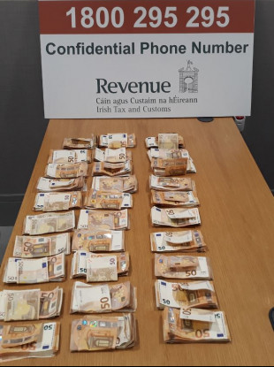 The cash seized at Dublin Airport