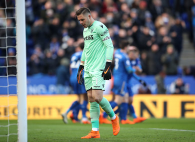 Jack Butland dejected after scoring an own goal against Leicester.