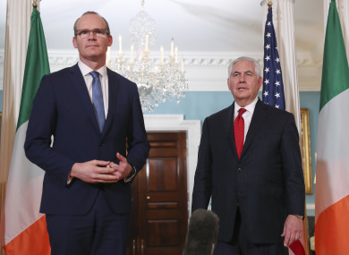 Simon Coveney and Rex Tillerson