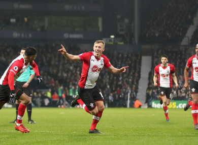 Southampton's James Ward-Prowse celebrates scoring his side's third goal of the game.