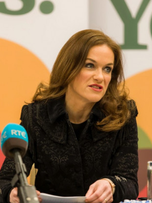 Dr Rhona Mahony at a Together for Yes this morning.