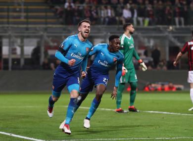 Aaron Ramsey of Arsenal celebrates after scoring.