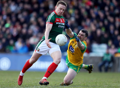 Moran with Paddy McGrath of Donegal yesterday.