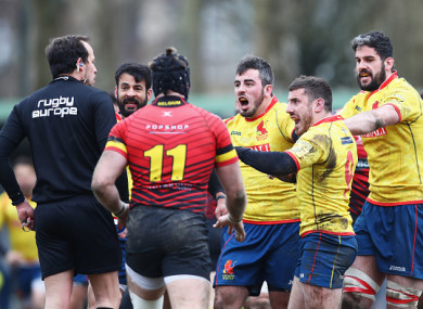 Irate Spanish players confronted referee Vlad Iordachescu at the final whistle.