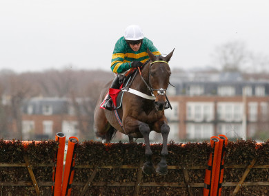 Barry Geraghty riding Buveur D'Air clears the last to win at Kempton Park in December.
