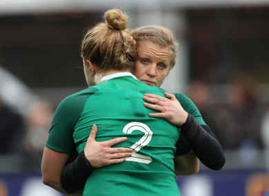 Claire Molloy and Cliodhna Moloney at full-time yesterday.