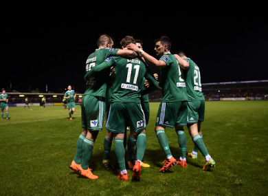Cork City players celebrate after Kieran Sadlier scored the only goal of last night's game against Shamrock Rovers.