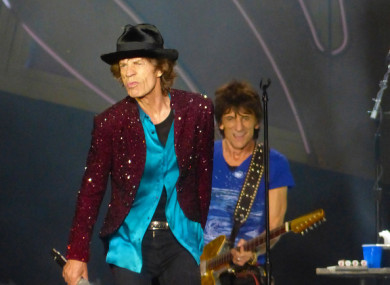 Mick Jagger and Ronnie Wood on stage in San Diego, California in 2015