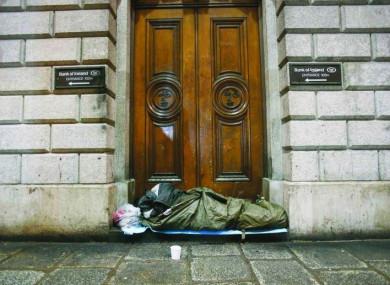 A rough sleeper in Dublin city centre