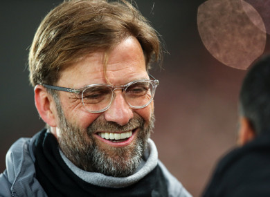 Jurgen Klopp pictured during tonight's match.