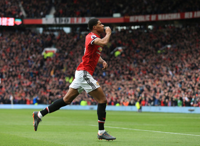 Marcus Rashford scored twice in the space of 10 minutes against Liverpool.