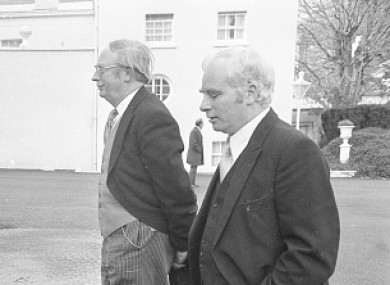 Ceann Comhairle Sean Treacy (right) and Chief Justice Tom O'Higgins arriving at Aras an Uachtarain for the reception for new President Cearbhall O Dalaigh in 1974.