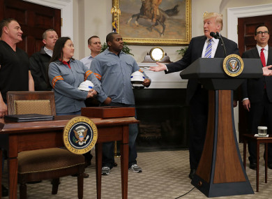 US President Donald Trump speaking before signing the 'Section 232 Proclamations' on steel and aluminum imports in the White House.