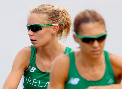 Claire Lambe (left) pictured at the Rio Olympics with her rowing partner Sinéad Lynch.