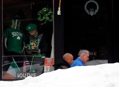 A snowy St. Patrick's Day in Boston in 2015.
