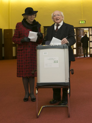 President Michael D Higgins and wife Sabina vote in the 2016 General Election.