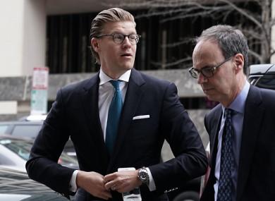 Alex van der Zwaan (left) arriving at court today