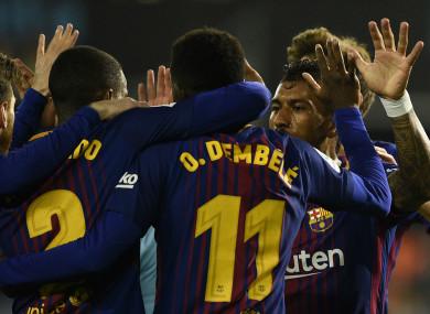 Barcelona celebrate at Celta Vigo