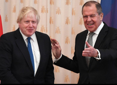 UK foreign secretary Boris Johnson (l) with his Russian counterpart Sergei Lavrov