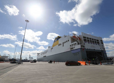 The world's largest short sea Ro-Ro vessel MV Celine which was christened at Dublin Port this afternoon.